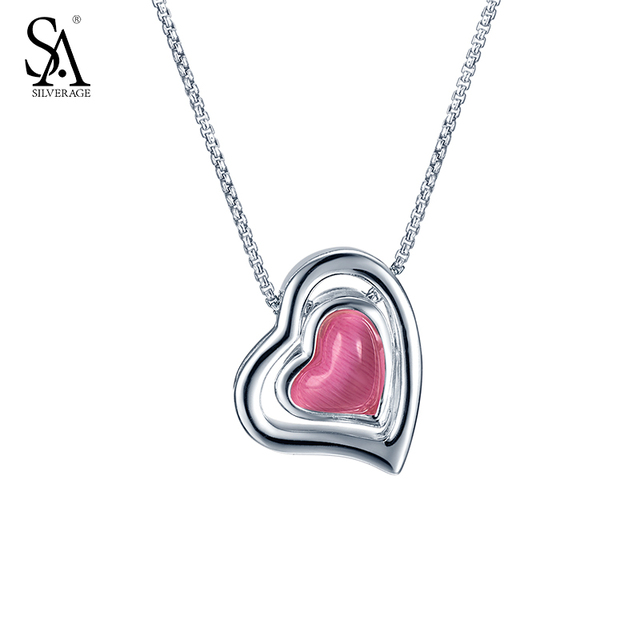 Aliexpress buy sa silverage silver chain necklace pink sa silverage silver chain necklace pink gemstone heart pendant real pure 925 sterling silver necklace for mozeypictures Image collections