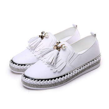 High quality microfiber crystal flat loafers woman pearl tassel decorate soft heels ladies joker slip on shoes espadrilles mujer