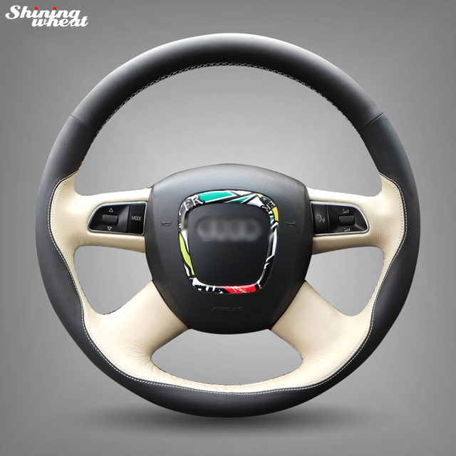 Shining wheat Black Beige Leather Steering Wheel Cover for Audi Old A4 B7 B8 A6 C6 2004 2011 Q5 ...