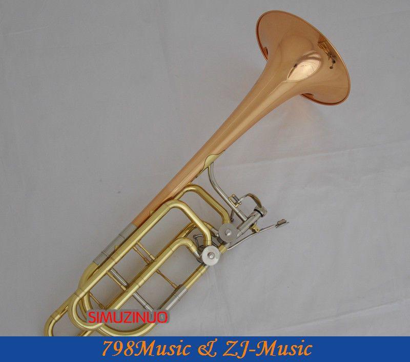 Профессиональный двойной ротор бас Тромбон Bb/F/Eb& Bb/F/D/Gb розовый Латунный Колокольчик