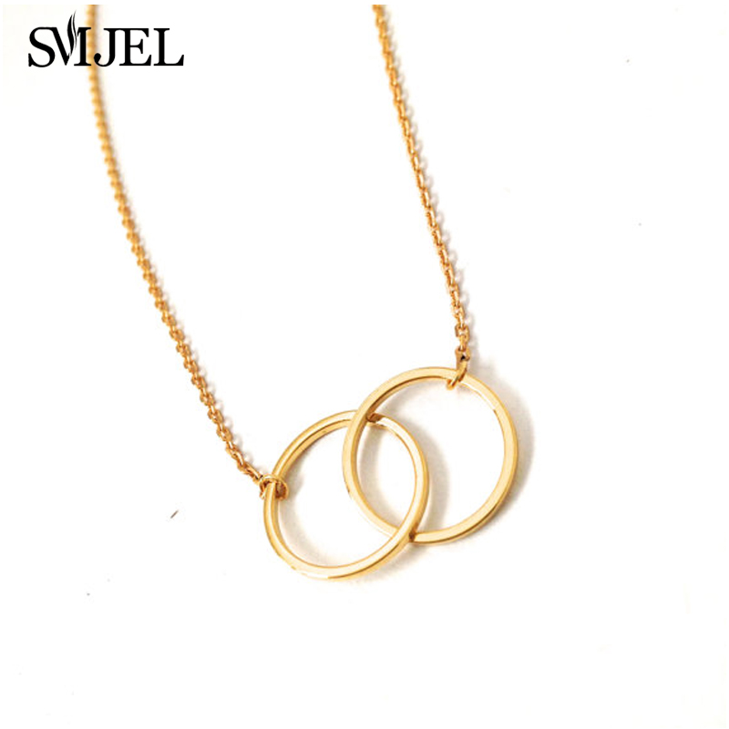 SMJEL New Simple Infinity Delicate Smooth Double Circle Necklaces Women Interlocking Circles Pendant Wholesale 30pcs N184