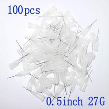100pcs,Dispensing Needles Syringe Needle 27Gauge x 0.5(0.5inch Length) Blunt Tip with Luer Lock For Mixing Many Liquid ( 27Ga )