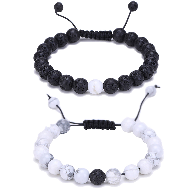 2d8f528a51 8Mm Round Black & White Beads Bracelet Matching Couple Bracelet For Lovers  Friendship Braid Jewelry Pulsera Natural stone-in Chain & Link Bracelets  from ...