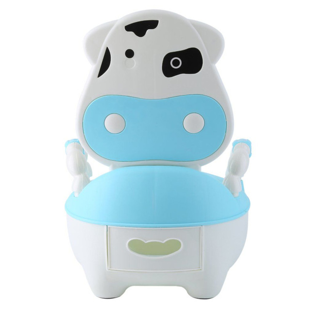 Portable Baby Training Cows Boy Girl Potty Infants Toilet Seat Infants Toddler Child Pot Urinal Green/Blue/Pink