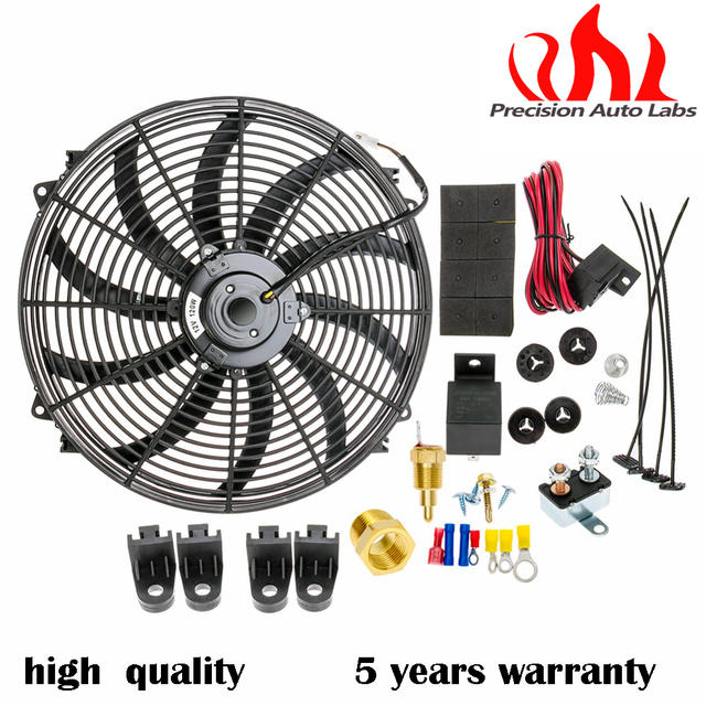 Precision Auto Labs 16 Inch Electric Radiator Fan High 3000 Cfm Thermostat Wiring Switch Relay Kit