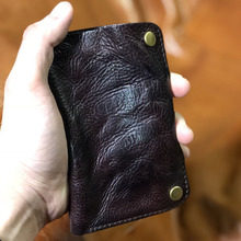 Genuine Leather Wallet For Men Cow Cowhide Clutch Young Male Handmade Ruched Man Wallets Ticket Holder Designer New