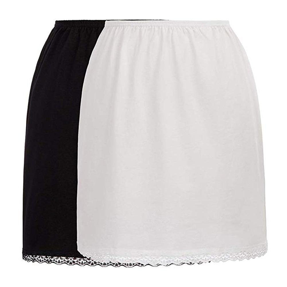 New Women's Lined Skirt for Short Skirt Summer Elastic Waist Petticoat Anti-transparent Skirt Milk Silk Lace Skirts One Size(China)