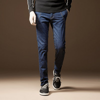 New Fashion Men Casual Thick Jeans Slim Straight High Elasticity Feet Jeans Loose Waist Long Trousers