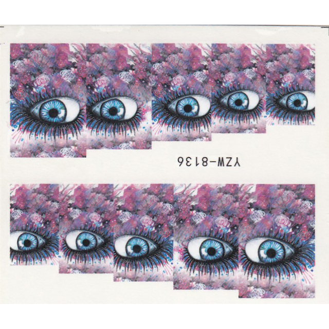 1 sheet water transfer nail art sticker decal sexy eyes 3d print manicure tips diy nail