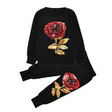 Mom's and Kid's Long Sleeves Roses Pattern Clothing Sets