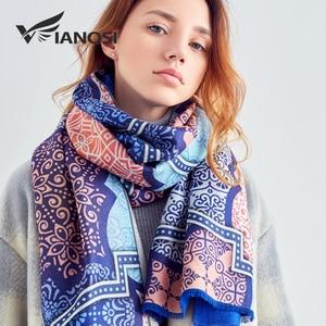 Image 2 - [VIANOSI] 2018 Women Scarf Wool Warm Scarves Fashion Classic Pattern Print Shawl Luxury Foulard Thicken Hijab Scarf