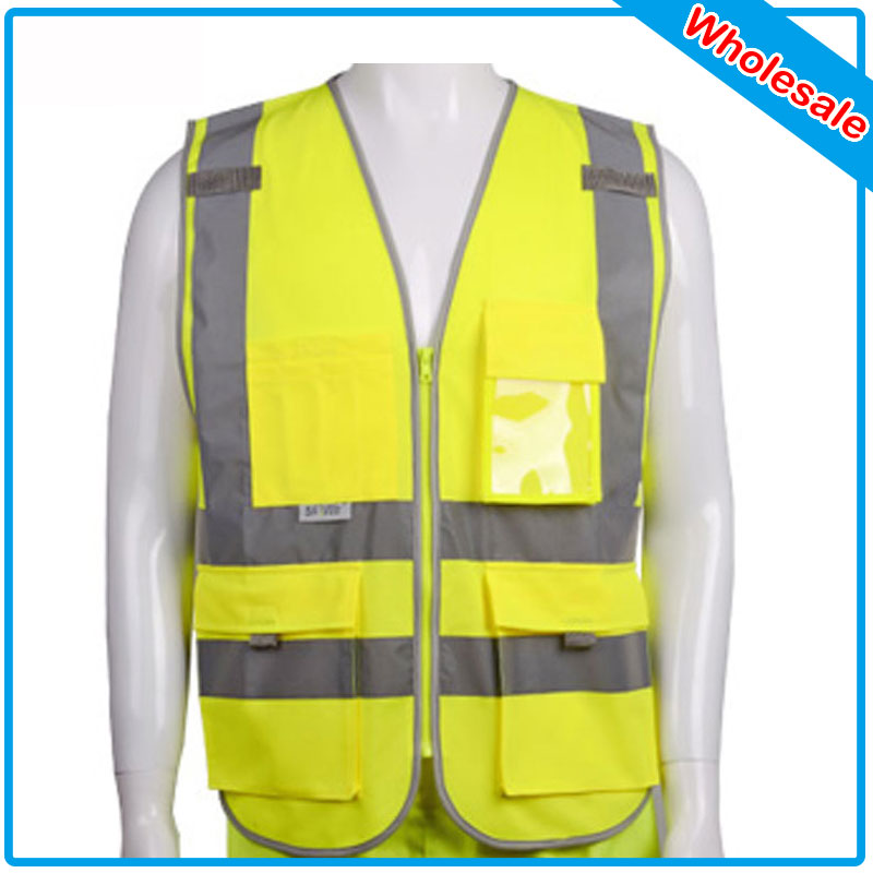 72 Pcs Polyester Material Visibility Security Safety Vest Jacket Reflective Strips Orange Yellow Work Wear Uniforms Clothing