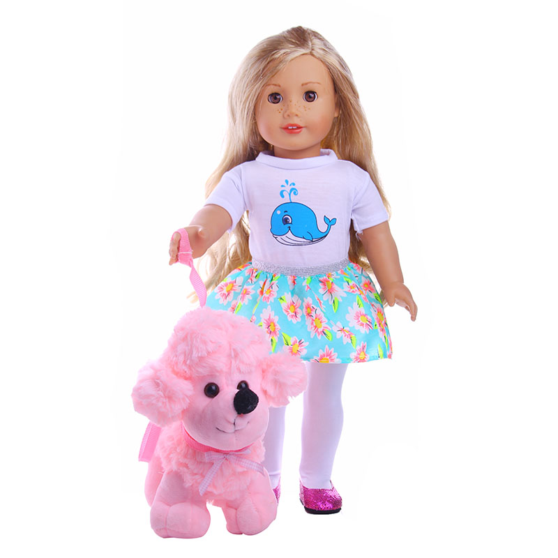 Doll Accessories, 8cm Plush Toys Cute Soft Pink Dog Toys Doll Wear fits 18 american girl doll for baby gift  LG139 stuffed animal 120 cm cute love rabbit plush toy pink or purple floral love rabbit soft doll gift w2226