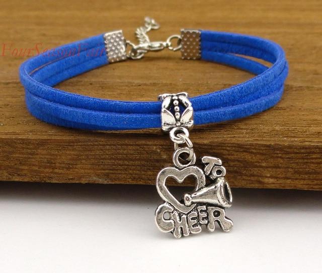 Customizable Cheer Bracelet I Love To Cheerleading Wax Cord Korean Cashmere Cheerleaders Leather