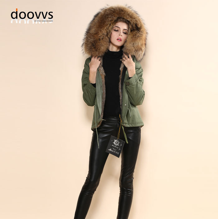Женское зимнее теплое Коричневое Пальто с натуральным кроличьим мехом, великолепное армейское зеленое пальто,, новое поступление