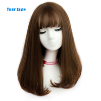 Your Style 45 Colors Synthetic Long Straight BOB Womens Wigs With Bangs Brown Blonde Color Natural