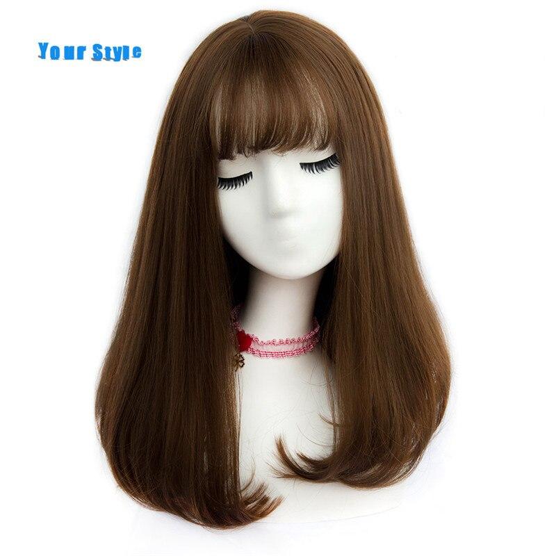 Ваш Стиль 45 Цвета Синтетический Длинные прямые натуральных волос Искусственные парики с Синтетические чёлки волос женские африканские Американский волосы коричневые светлые Серый цвет