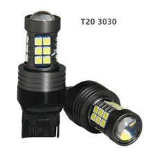 2019 2PCS T20 W21W WY21W 7440 Car Tail Light 27SMD 3030 LED Car Brake  Reverse Lights For Auto General Rear Parking Bulb bosmaa t20 7440 w21w wy21w 9smd 3030 led car yellow white turn signal drl bulb red brake lights auto reverse lamps 12v
