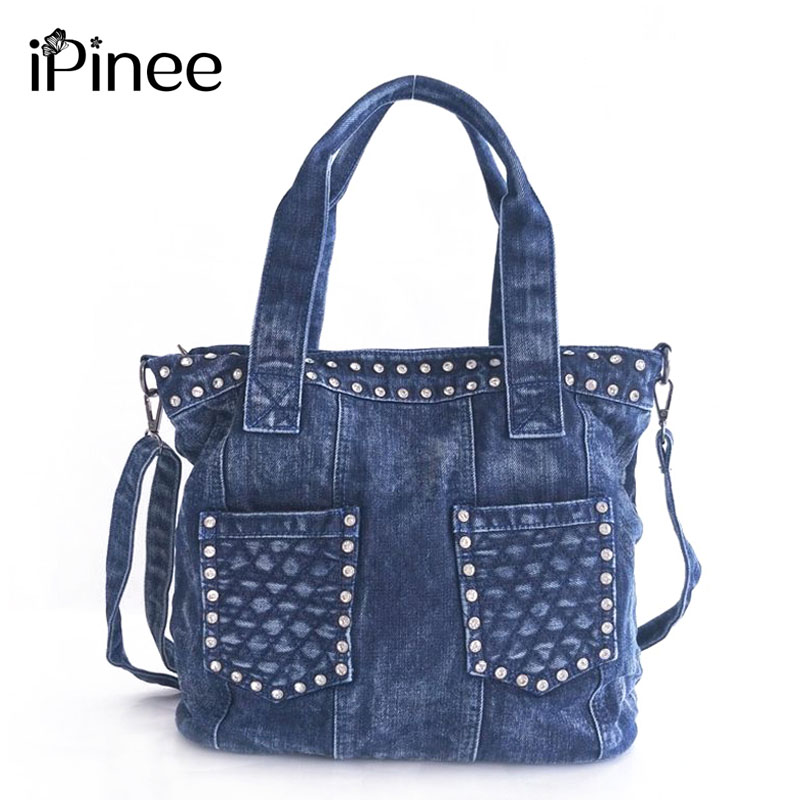 iPinee 2018 Fashion Denim Handbags Female Jeans Shoulder Bags Two Pockets Design Women's Tote Bag футболка мужская calvin klein jeans цвет белый j30j306893 1120 размер xxl 52 54