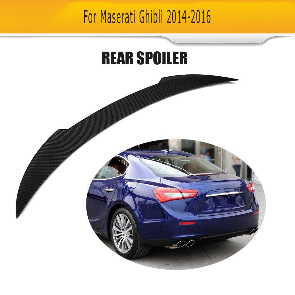 JC style carbon fiber rear trunk boot lip spoiler wings for Maserati Ghibli 4-Door