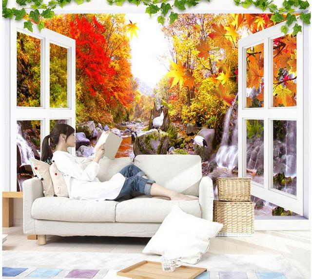3d Tapete Für Zimmer Landschaft Von Herbst Blätter Auf Die Tv Wand Mural  Fototapete Home Dekoration