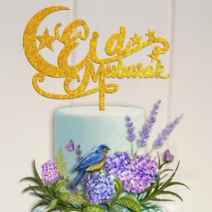 Image 5 - Рамадан акриловый торт Топпер ИД Мубарак золотой черный кекс Топпер для хадж Мубарак украшения мусульманский ИД выпечка Baby Shower
