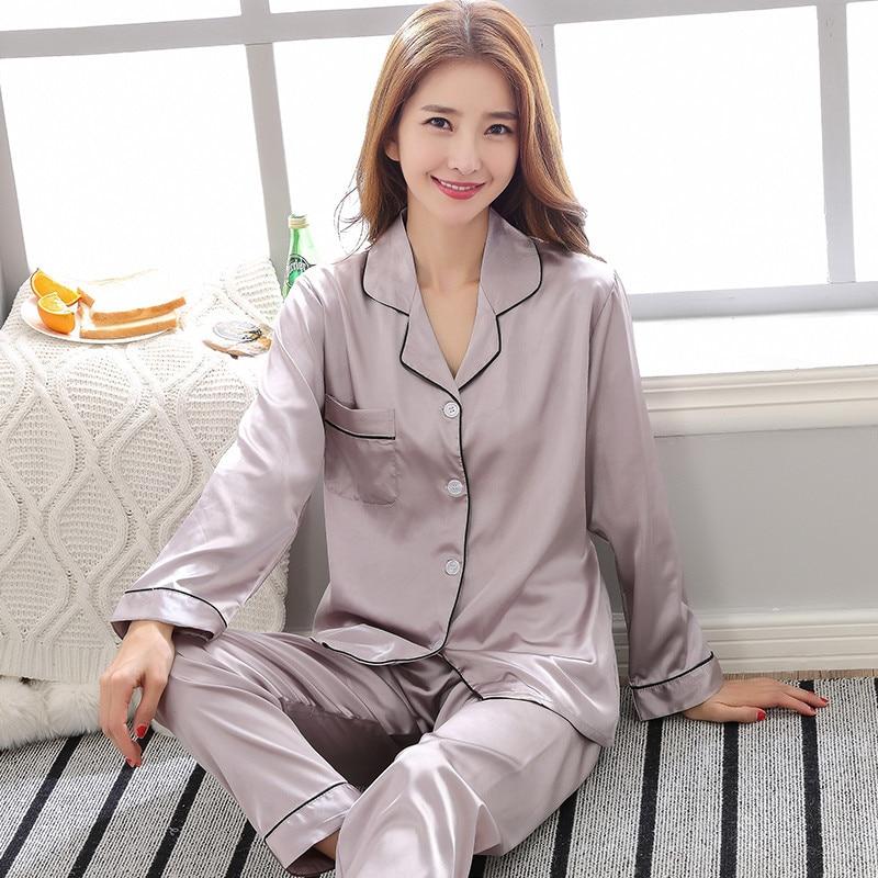 Spring New Lady   Pajama     Set   Long Sleeve 2PCS Sleepwear Satin Nightwear Home Clothes Solid Color Soft Pyjamas Pijamas M L XL XXL