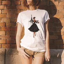 Showtly  VOGUE Fashion Women And tower Print Tee Tops Summer T Shirt Casual Simple Super Soft Cotton Short Sleeve