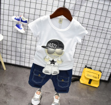 2019 New Arrived Toddler Boys Clothing Set Summer Cartoon White T-Shirt+ Denim Pants Kids Clothes Tracksuit