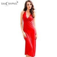 Long Style Lace Sexy Women Nightgown Blackless Spaghetti Strap Transparent Female Nightdress