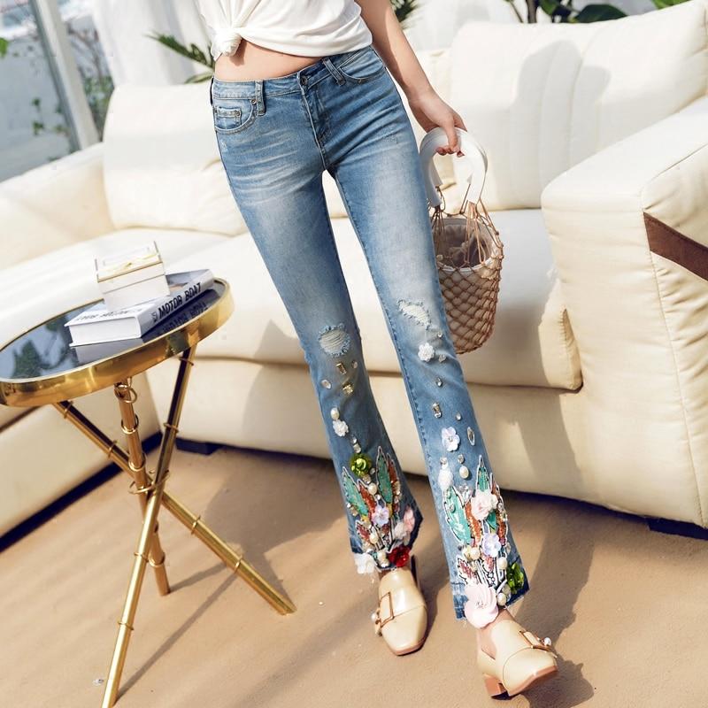 Perles Pantalon Dame Bleu Jeans Femmes Slim Denim Stretch À Paillettes Maigre Fleur Crayon Flare A521 An1Wnxq5