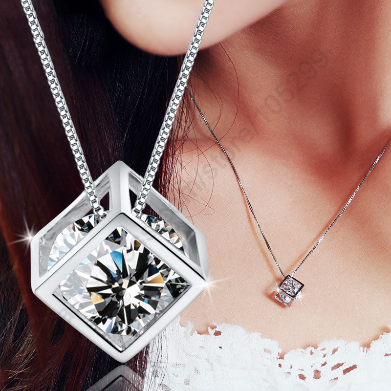 JEXXI Happiness Rubik Cube Pure Fine Jewellery Sterling Silver 925 Cubic Zirconia Pendant Necklace Nice Party Accessories Gift