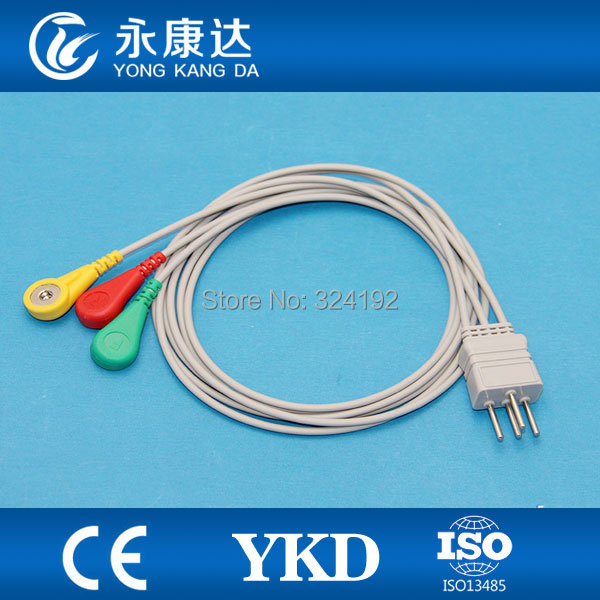 NEC Holter 3 lead cable IEC Snap, with CE&ISO13485 proved ...