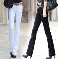 2017 Spring Autumn Women S Skinny Bell Bottom Long Denim Pants 8 Candy Colors Black Red