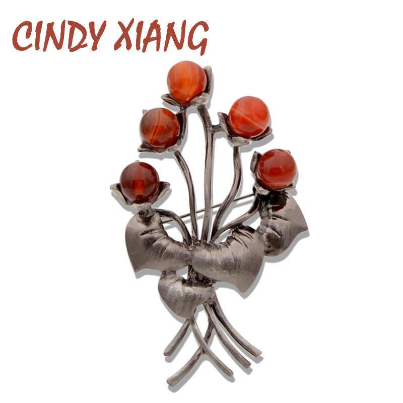 シンディ xiang 自然石赤色 x0890 女性のヴィンテージファッション支店ブローチピン植物コートセーター pins 新 2019