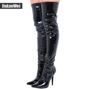 Image 3 - Jialuowei en satış bayanlar seksi sivri burun uyluk yüksek çizmeler, kadınlar yüksek topuklu kaskad Platform çizmeler uyluk yüksek kış çizmeler
