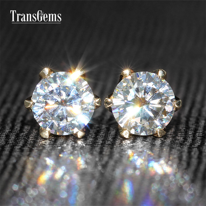 TransGems 1 CTW Carat Moissanite Lab Grown Women Stud Earrings Solid Yellow Gold Classic Design
