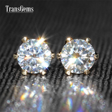 TransGems 1 CTW Solid 14K Yellow Gold Moissanite Stud Earring Lab Grown Diamond Fine Jewelry For Women