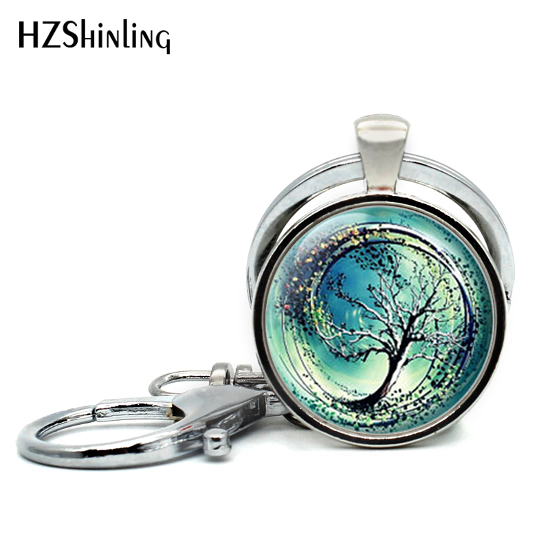 2017 New Design Divergent Tree Keychains Handmade Glass Dome Tree of Life Keyring Steampunk Amity Tree Key Chain