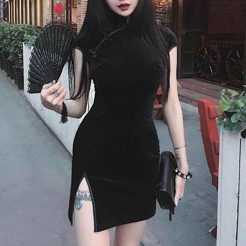 Модные китайские элегантные женские бархатные вечерние мини платья Vestido Cheongsam Qipao Новый
