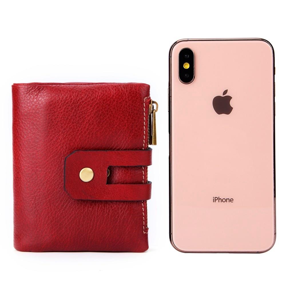 Muurdde Genuine Leather Women Wallet Female Short Wallets Double Zipper Coin Purse Small ID Card Holder For Money Bag Portomonee