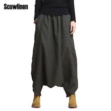 Women Pants 2015 Linen Casual Personality Loose Harem Plus Size Elastic Waist Net Colored Fashion Trousers