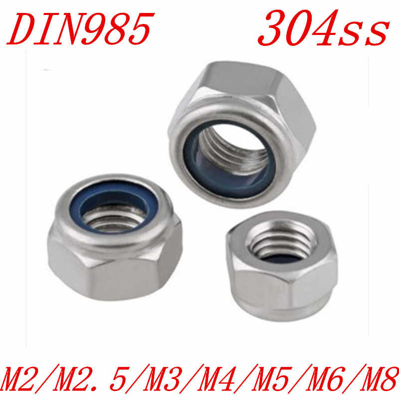 50Pcs Stainless Steel Nylon Insert Lock Nut Assortment (M8)