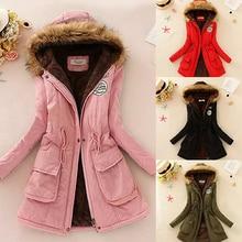 Women Winter Jacket Warm Faux Fur Hooded Causal Long Sleeve Coat Plus Size