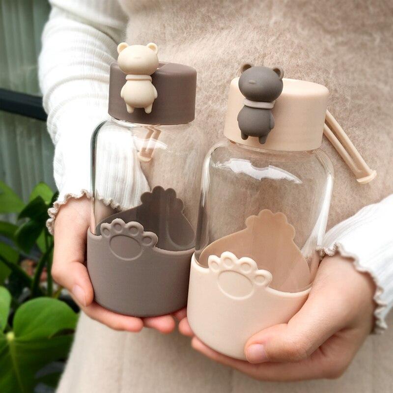 Bouteille deau en verre avec poignée   Design mignon, tasse à café avec couvercle en Silicone, bouteille de boisson Portable pour filles, gobelets