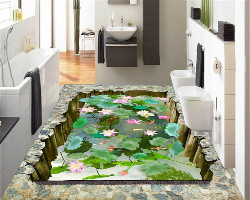 Beibehang Flower Toilet Bathroom Bedroom Living Room 3D Floor Tiles Waterproof Self Adhesive Wallpaper Paper