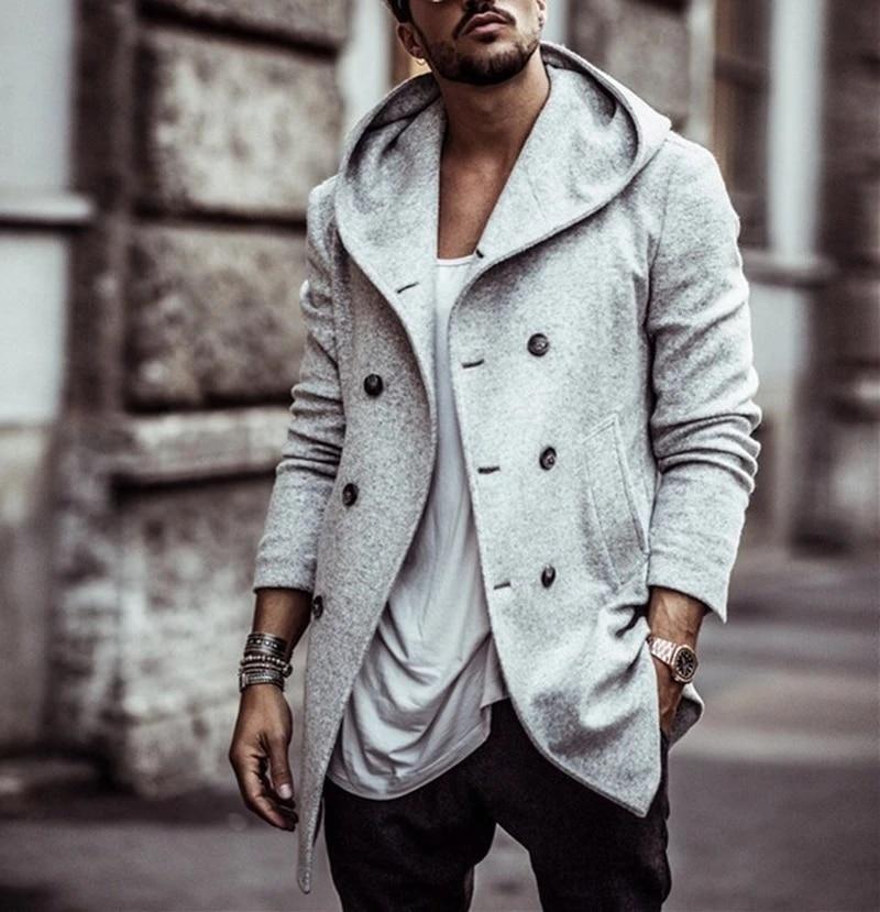 Mens Wool Long Trench Coat Warm Outwear Slim Windbreaker Casual Jacket Overcoat