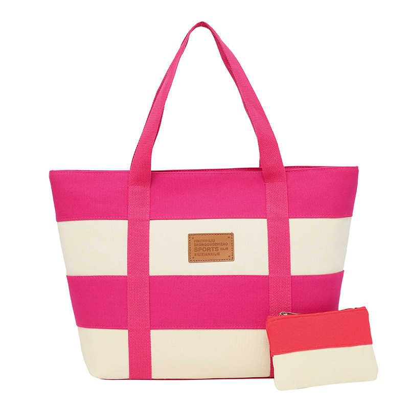 2 Piece / Set Canvas Shoulder Bag Striped Lattice Handbag 2 Colors Match Shopping Bags La