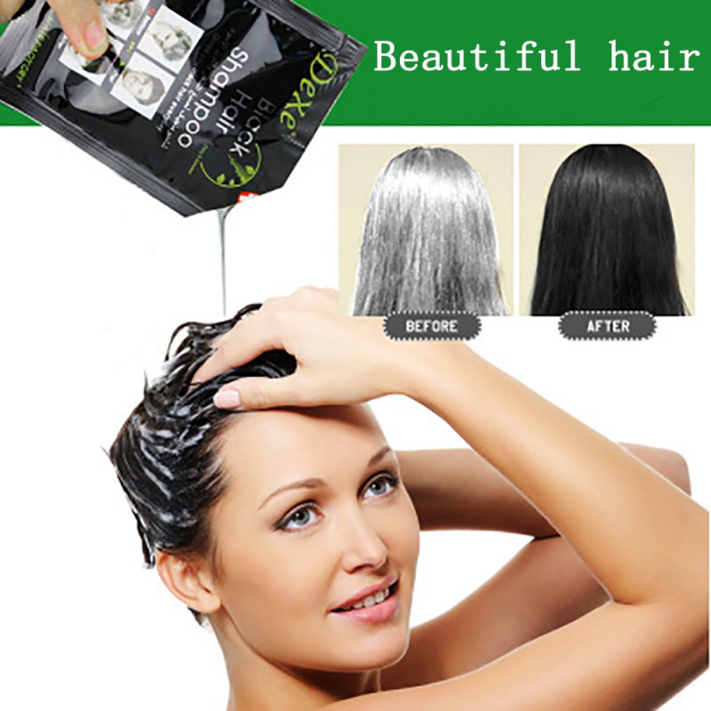 10pcs Black Hair Shampoo Dyeing Hair In Black Herb Natural Fast Black Hair Restoring Dye Shampoo image