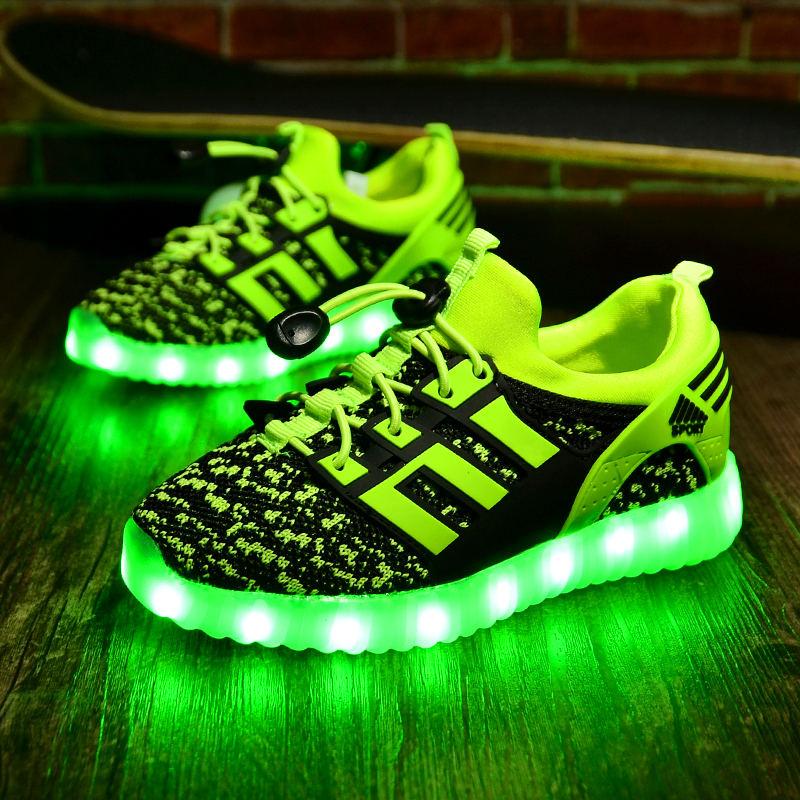 Teenager Boy Children Shoes Light Wings Luminous Sneakers Glow Zapatillas LED Children Sport Casual Shoes Backlight 50Z108 new led glowing sneakers kids shoes 7 colors usb charge luminous sole with cute wings sneakers light up children shoes